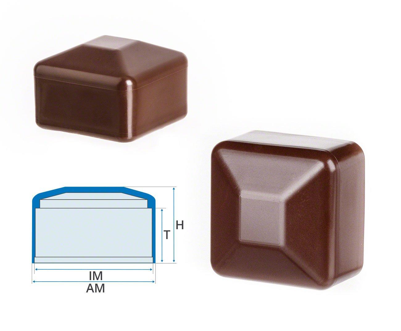 5 Stck Zaunpfahlkappe quadratisch 100x100 mm Braun Kunststoff Pfostenkappen Abdeckappen