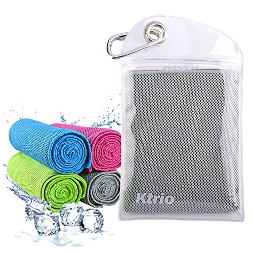 Ktrio Cooling Towel, Gray 40'' x 12'' Cool Down Instantly Multi-purpose Cooling Towel for Travel, Workout, Fitness, Gym, Yoga, Pilates, Camping, Used as Cooling Neck Headband or Scarf