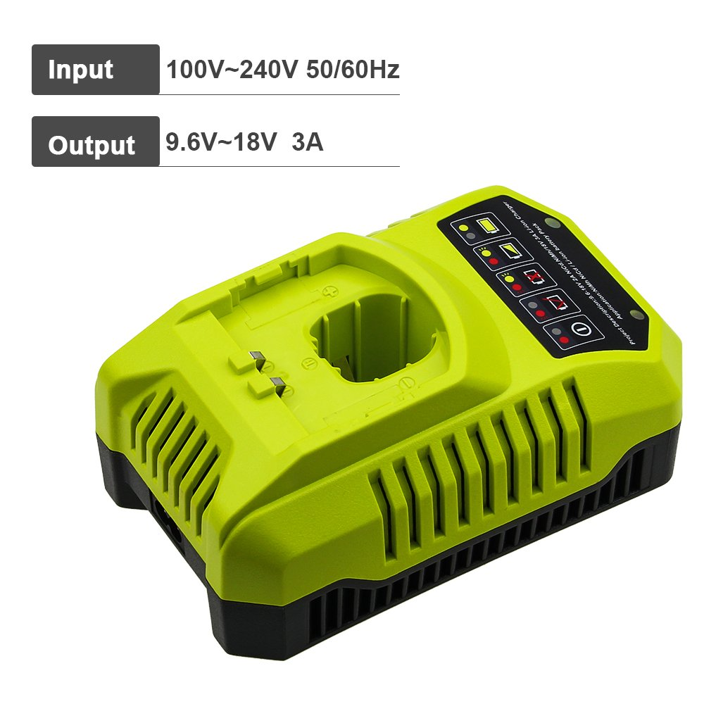 Replace Ryobi Charger for Ryobi 9.6v-18v P102 P105 P107 P117 P113 Charger One+ Dual Chemistry IntelliPort Lithium Ion and NiCad by GERIT BATT (Image #4)