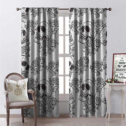 Hengshu Skull Room Darkening Wide Curtains Blooms Retro Style Otherworld Textured Western Style Celtic Halloween Horror Waterproof Window Curtain W84 x L84 Charcoal Grey White]()