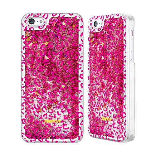 Official Cosmopolitan Pink Leopard Animal Skin Patterns Hot Pink Liquid Glitter Case Cover for Apple iPhone 5c