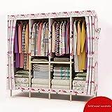 Double closet cloth closet storage assembly Oxford large folding wardrobe,6767''(6767cm),C