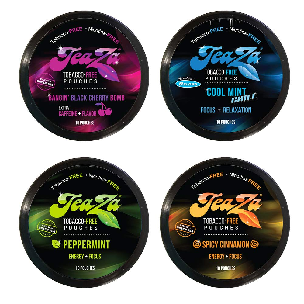 Teaza Variety Peppermint Puck, Bangin' Black Cherry Puck and Spicy Cinnamon Puck, and Caffeine-Free Cool Mint Chill Puck 4 Pack by TeaZa