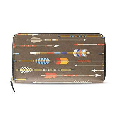 Indian Arrows Native Style Wallets Long Pu Leather Zipper