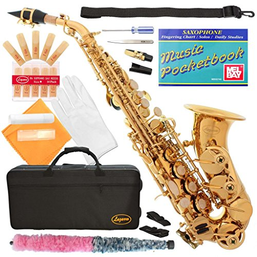 320-LQ - GOLD/Lacquer Curved Bb Soprano Saxophone Lazarro+11 Reeds,Music Pocketbook,Case,Care Kit - 24 COLORS