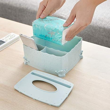 AMhomely/® Multifunktionale Tissue-Box Lagerregal Geschenk Multifunktionsdesktop-Schmutz-Speicher-Organisator-Kasten f/ür Serviette Make-up-Ger/ät Tischdekoration Blau