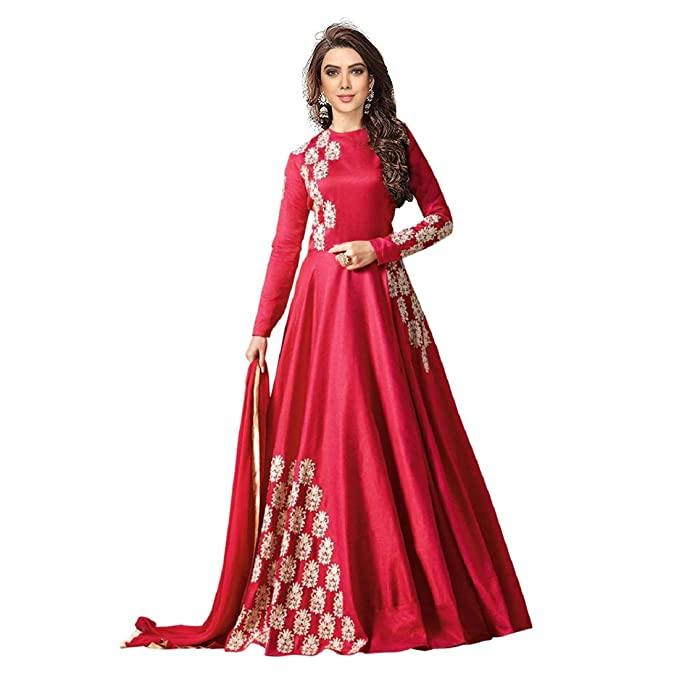 afe43a4a6 Style Amaze brings Women s Bangalori Sattin Embroidered Semi Stitched party  wear Anarkali Style Gown(Pink Color GN 1285)  Amazon.in  Clothing    Accessories