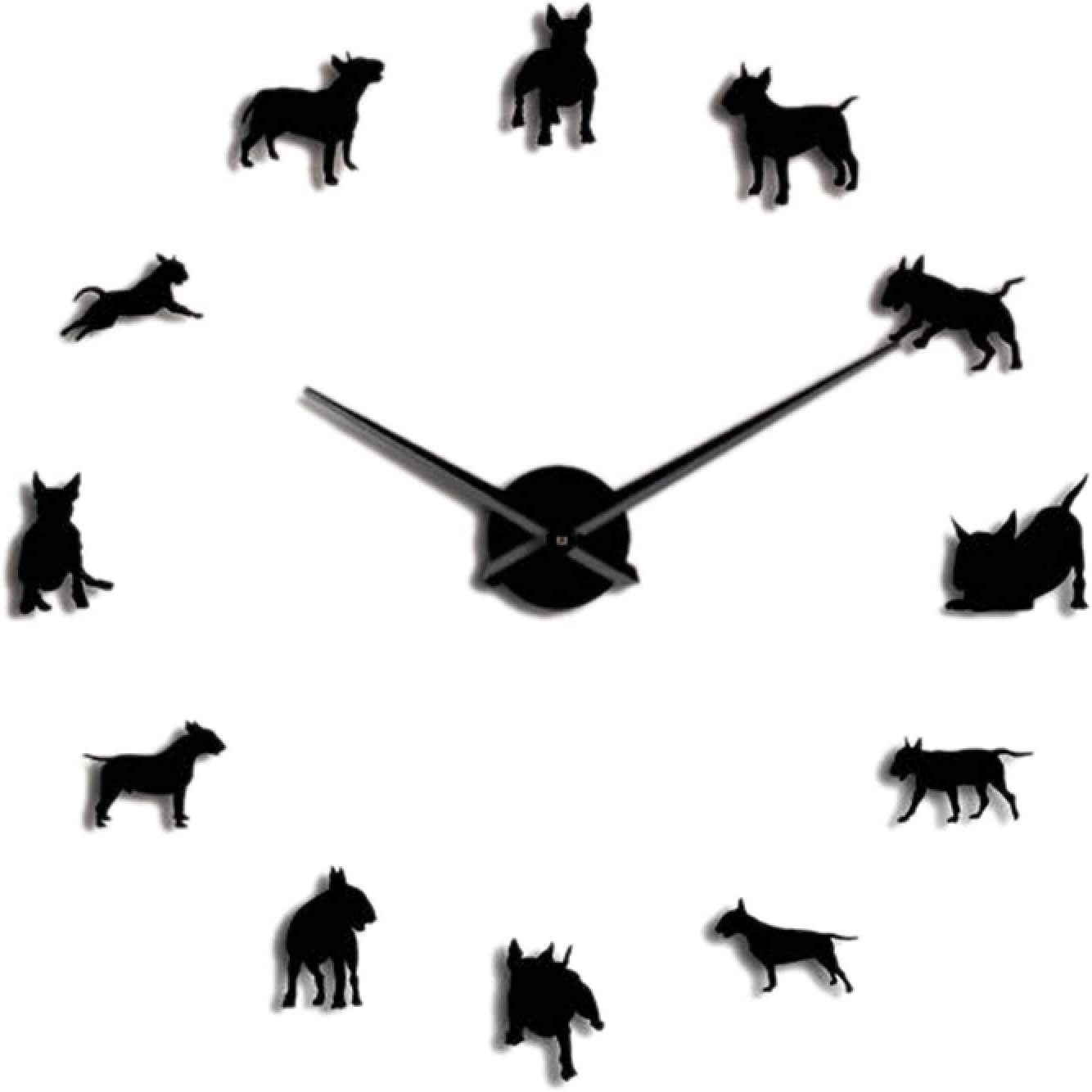 Wall Clock Bull Terrier Dog Wall Art DIY Large Wall Clock Dog Breed Pug Big Needle Clock Watch Pet Shop Decor for Bull Terrier Lovers Wall Watch Quartz Silent Non Ticking Big Digital Gift Wall Clock