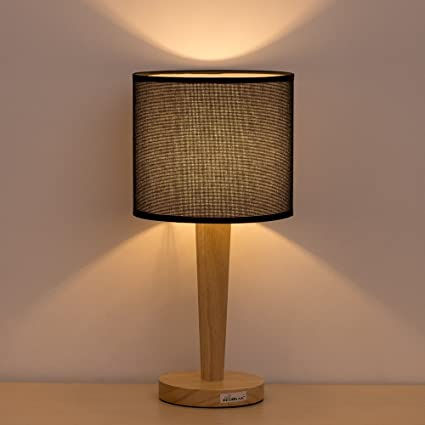 Table Lamp Bedside Desk Lamp   HAITRAL Minimalist Modern Night Light Lamp  With Black Fabric Shade