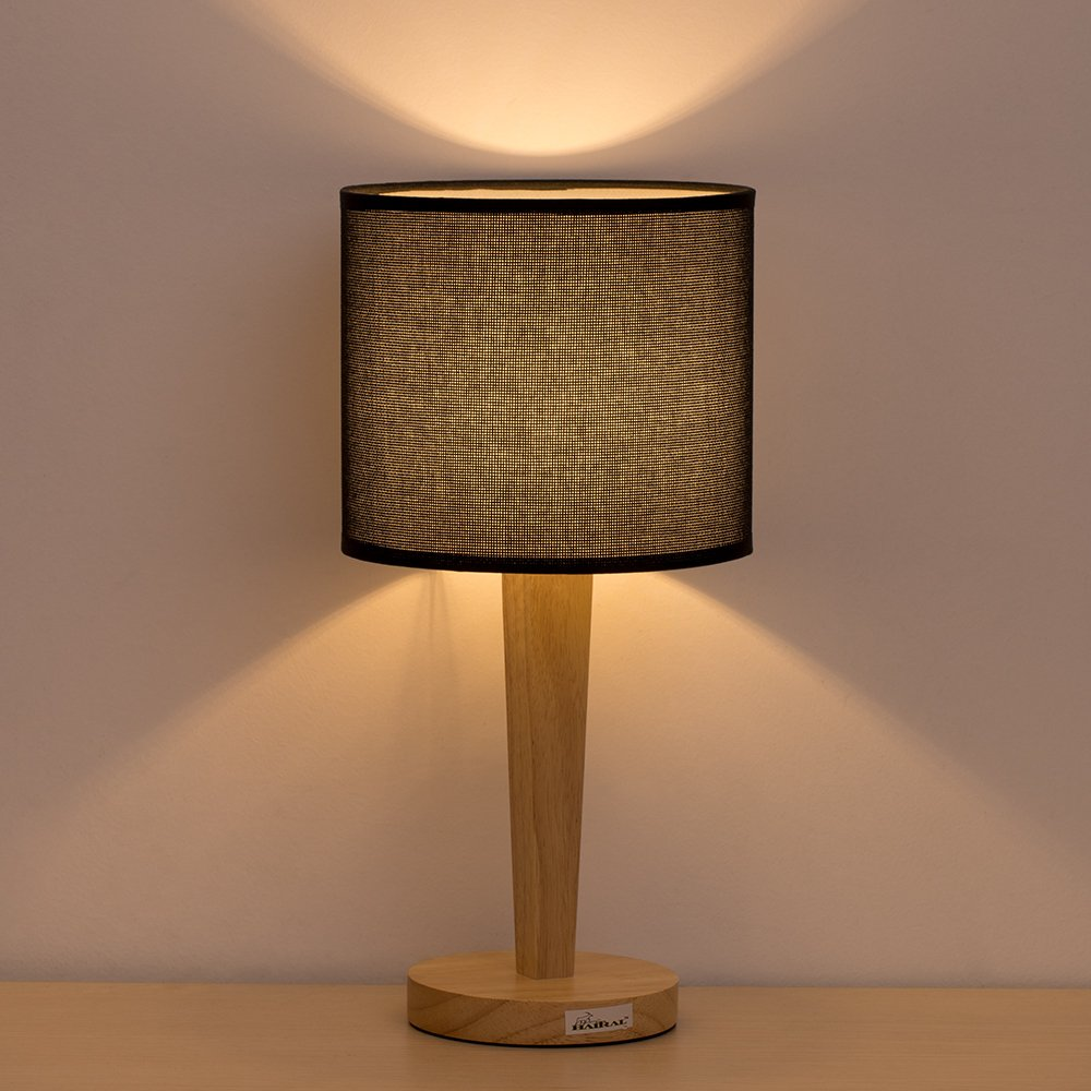 Table Lamp Bedside Desk Lamp - HAITRAL Minimalist Modern Night Light Lamp with Black Fabric Shade Wooden Base Nightstand Lamp for Bedroom, Kids Room, Living Room, Office, Baby Room