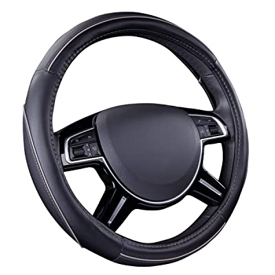 CAR PASS Colour Piping Leather Universal Fit Steering Wheel Cover,Perfectly fit for Suvs,Vans,Trucks,Sedans,Cars (Black and Gray): Automotive