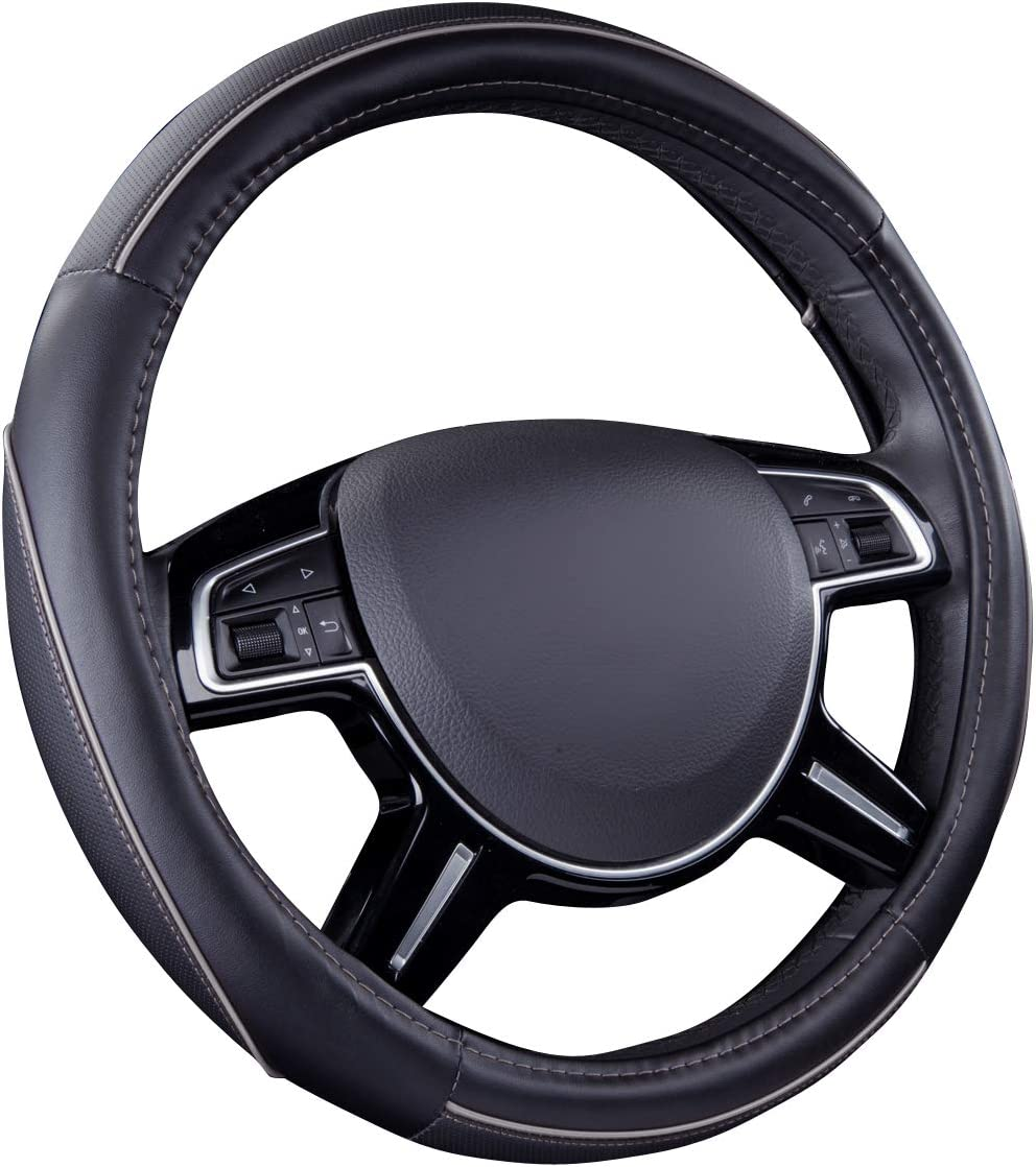 CAR PASS Colour Piping Leather Universal Fit Steering Wheel Cover,Perfectly fit for Suvs,Vans,Trucks,Sedans,Cars (Black and Gray)