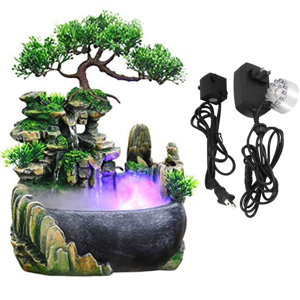 Fountain Humidifier,Jadpes Atomizing Desktop Waterfall Pond Fog Machine Air Humidifier with LED Lights Wind Wheel Green Plant for Office Home Halloween Christmas Desk Decoration(US:110V)