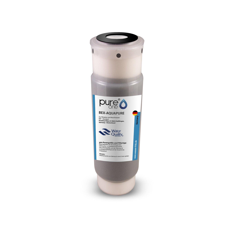 pureone Bex de Aquapure. 100% Carbón Activo granulado con prefiltro sedimentos. sutilezas Después de selección 1µ y vela 5µ–Filtro para agua sanitaria y agua potable. Impresión estructura estable