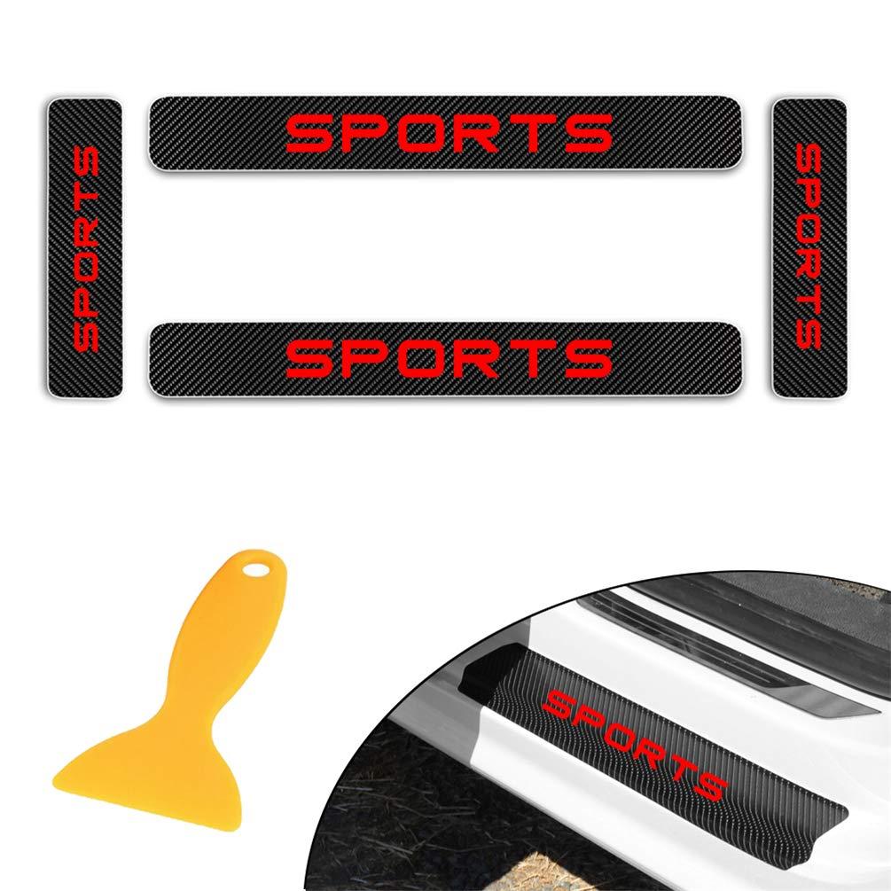 for Toyota Corolla-EX Landercruiser Levin Prado FJ150 Camry FJ Carbon Fiber Door Sill Protector Scratch Door Sill Guard 4D Welcome Pedals Guards Threshold Sticker Sticker Red 4Pcs
