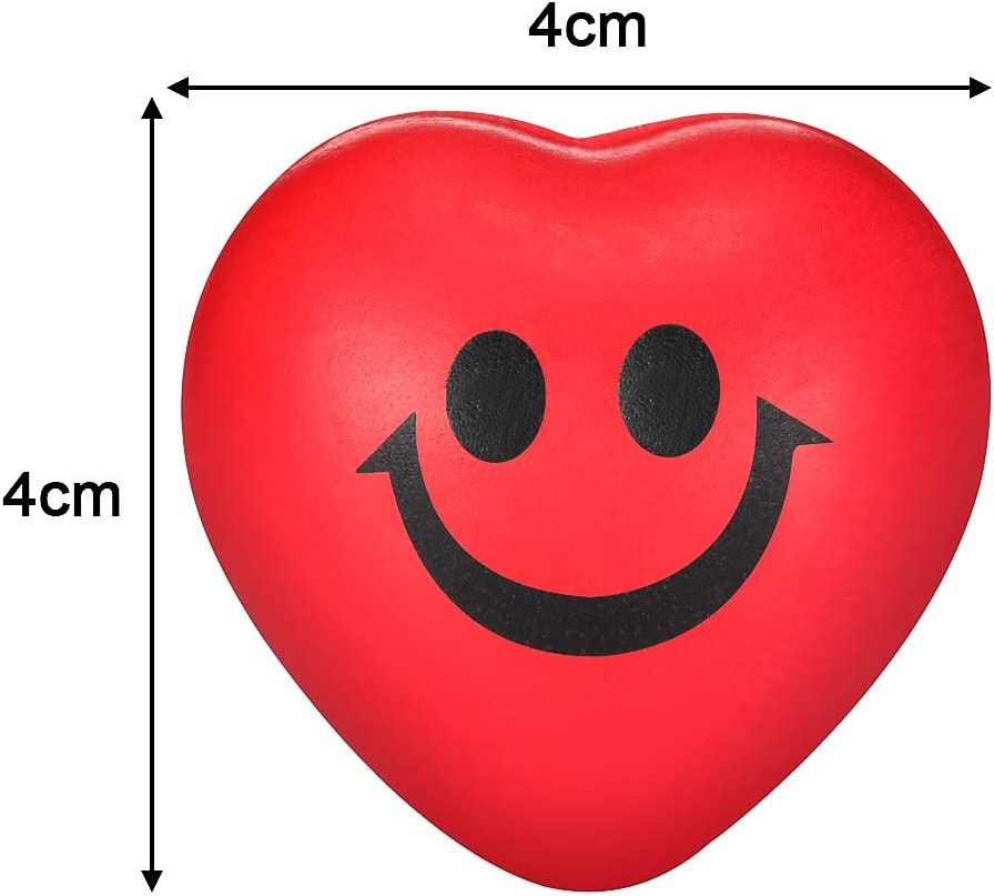 Mini Foam Squeeze Ball Stress Relief Smile Balls for School Carnival Reward Valentine Party Bag Gift Fillers 30 Packs Valentines Day Red Heart Smile Funny Face Stress Balls Red Heart