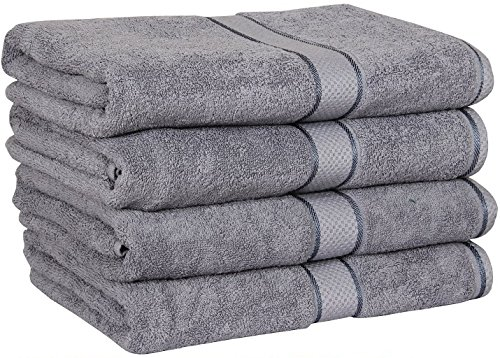 Premium Cotton Bath Towels (4 Pack, Grey, 30 x 56 Inch) - 100% Ringspun Cotton for Maximum Softness and Absorbency