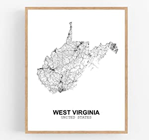 Eleville 11X14 Unframed West Virginia United States Country View Abstract Road Modern Map Art Print Poster Wall Office Home Decor Minimalist Line Art Hometown Housewarming wgn204