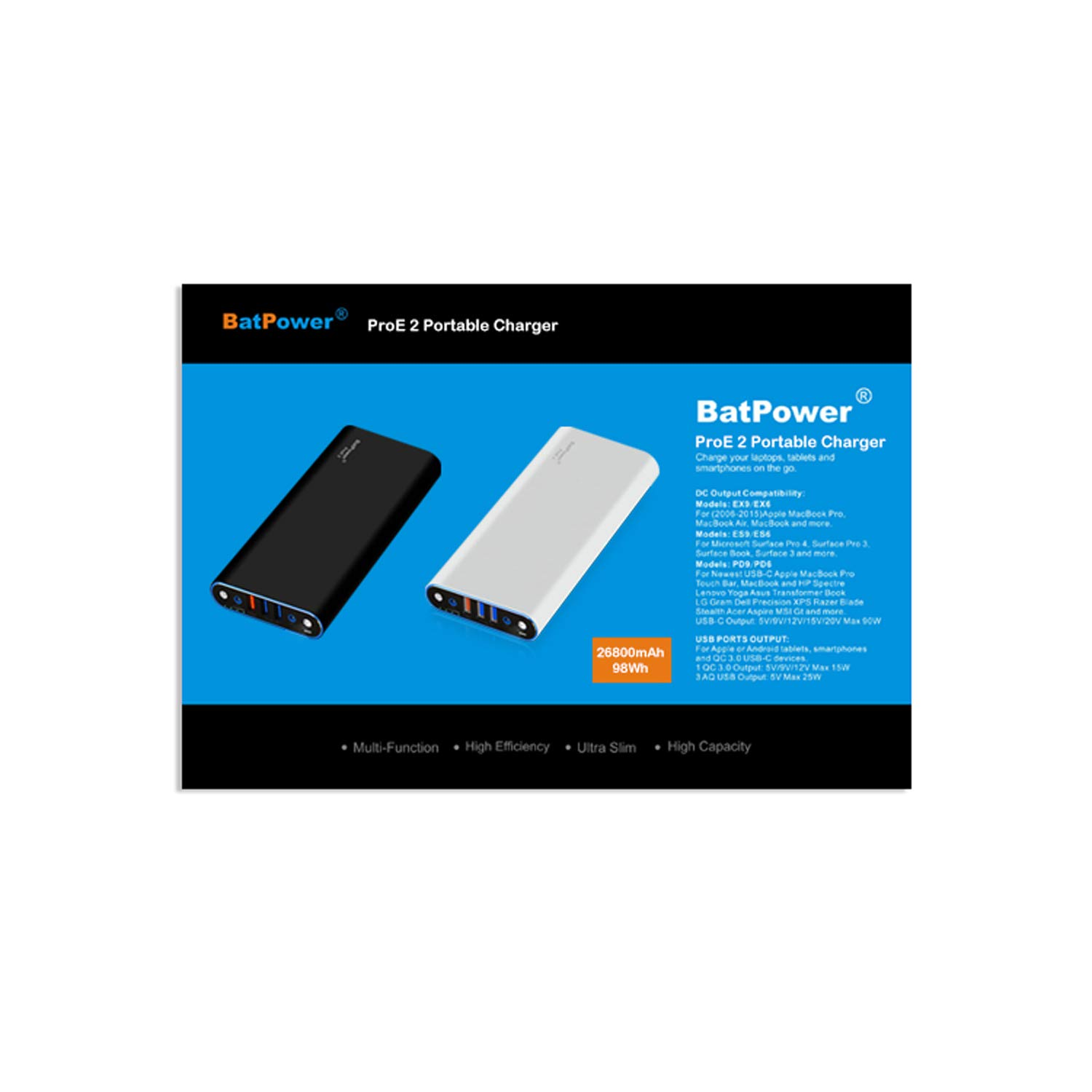 BatPower EM3 90W PD USB C Converter Work with ProE 2 Portable Charger Power Bank Charging for 2016 2017 to Current MacBook Pro 13 15 MacBook 12 HP X360 Dell XPS Razer Lenovo and More USB-C laptops