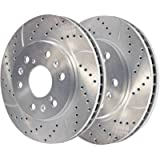 AutoShack PR65099DSZPR Pair of 2 Front Driver and Passenger Side Drilled and Slotted Disc Brake Rotors Replacement for…