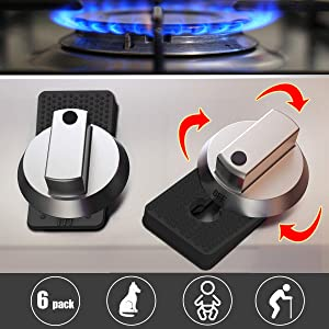 Baby Safety Oven Knob Locks - Childproof and Pet Kitchen Gas Stove Safety Guard (6PACK) (Black)