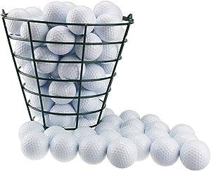 Crestgolf Stainless Metal Golf Basket Golf Ball Container Ball Bucket, Holds 50 Balls.