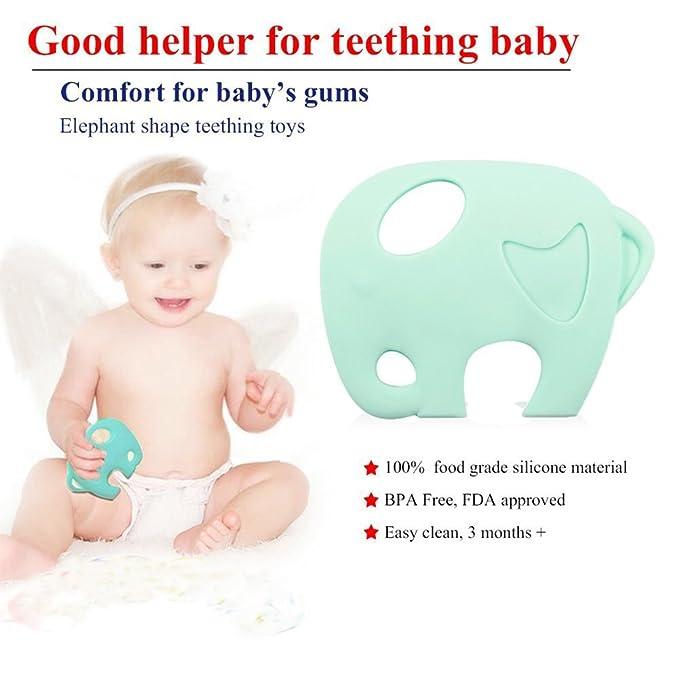 Juguete INCHANT elefante verde Mordedor con silicona Chupete clip ...