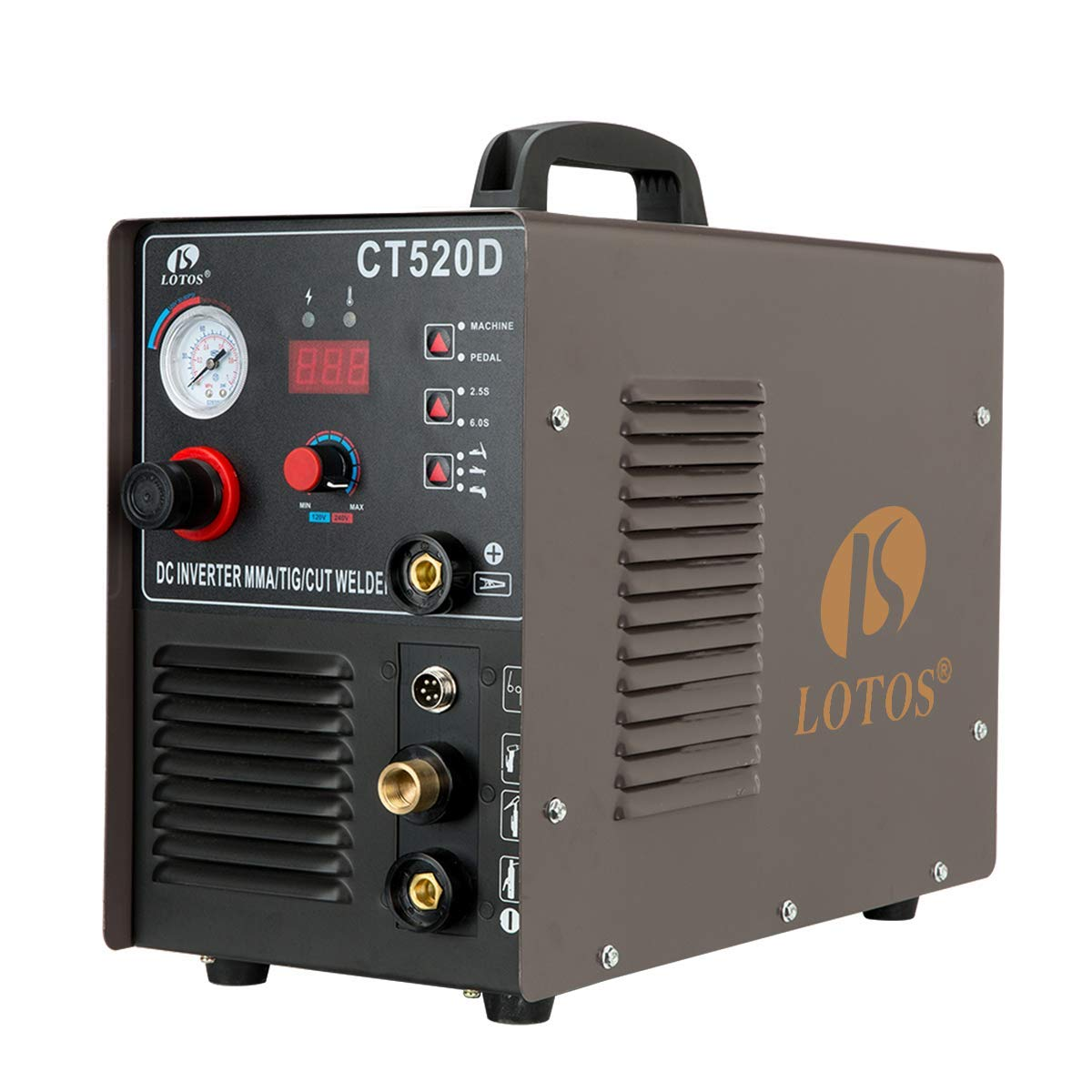 Lotos CT520D 50 AMP Air Plasma Cutter, 200 AMP Tig and Stick/MMA/ARC Welder 3 in 1 Combo Welding Machine, ½ Inch Clean Cut Brown by Lotos Technology