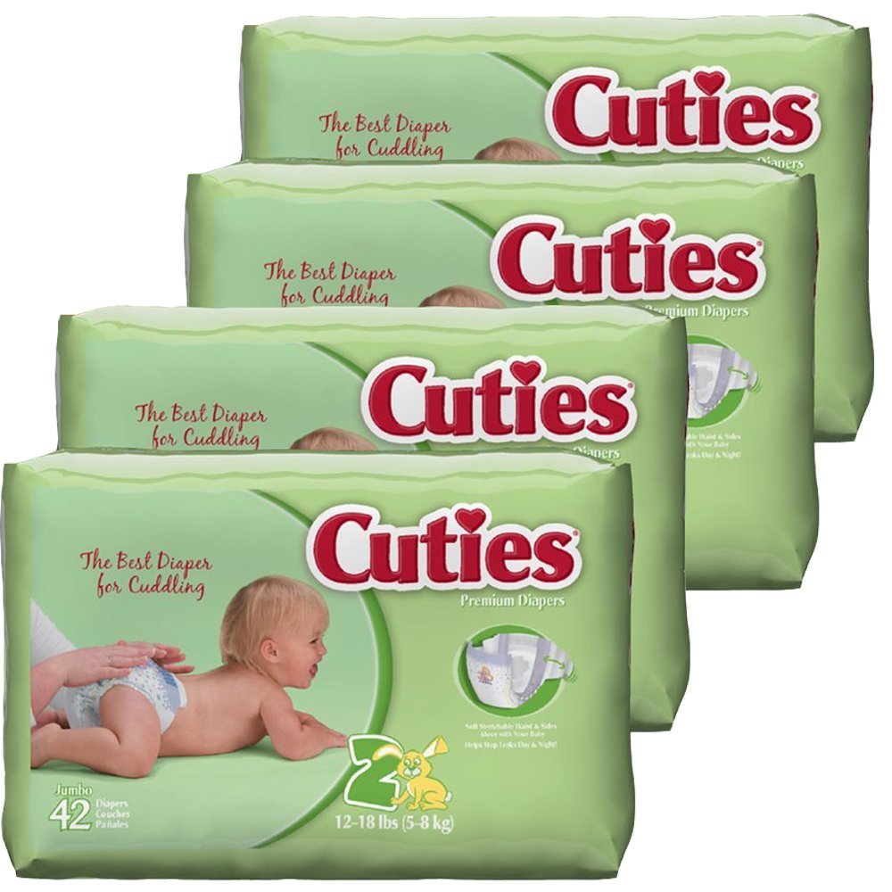 Cuties Baby Diapers, Size 2, 42-Count, Pack of 4
