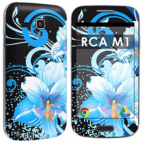 RCA M1 Full Body Edge to Edge Skin Decal [Easy Apply] [No Bubbles Air Release] - [Blue Flower Black] for RCA M1 [4