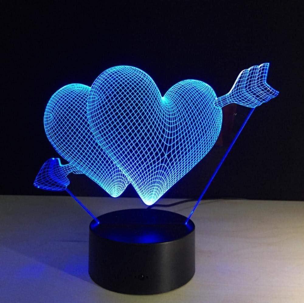3D Deco Light Nueva Novedad 3D Ahorro De Energía Acrílico Interruptor De Toque Remoto Lámpara De Luz Nocturna 3D Regalos Del Día De San Valentín Regalos De Boda Del Corazón Del Amor Regalo Especial