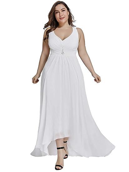 a802964395f89 Ever Pretty Women s Elegant V Neck High-Low A Line Chiffon Long Wedding  Dresses White