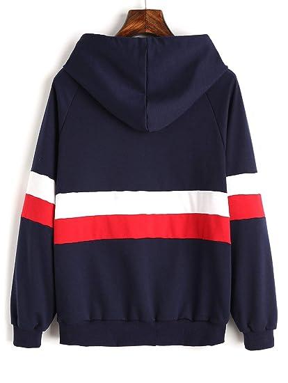 ZAFUL Mujer Sudadera Con Capucha Contraste de Ropa Deportiva Otoño Outwear Sweatshirt Patchwork Hoodie (S): Amazon.es: Ropa y accesorios