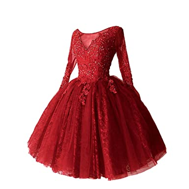 Graceprom Womens Charming Red Lace Appliques Ball Gown Prom Dress Long Sleeves Evening Gown 2