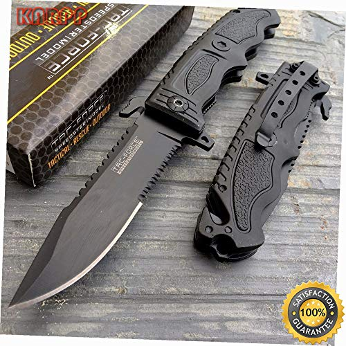 Speedster Black Serrated Blade Rescue Folding Pocket Knife - Outdoor Camping perfect For Hunting EDC EMT