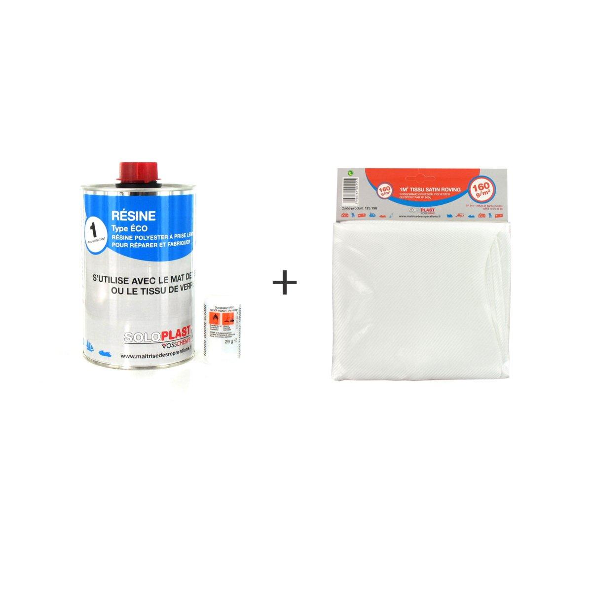 Pack Kunstharz Polyester Typ Eco Soloplast 1 kg –  Stoff-Glas Soloplast Roving 160 g M2