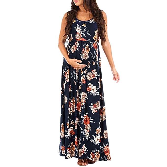 Amphia Premamá Vestido Fiesta Fotografía, Cuello de Las Mujeres Embarazadas Fotografía apoyos sin Mangas de Enfermería Vestido Estampado Floral: Amazon.es: ...
