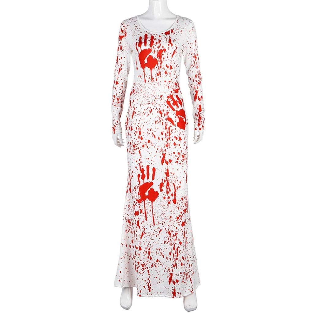 Qiusa Womens Pumpkins Halloween 3D Imprimir Casual Party Maxi Vestidos Largos (Color : Blanco, tamaño : Large): Amazon.es: Hogar
