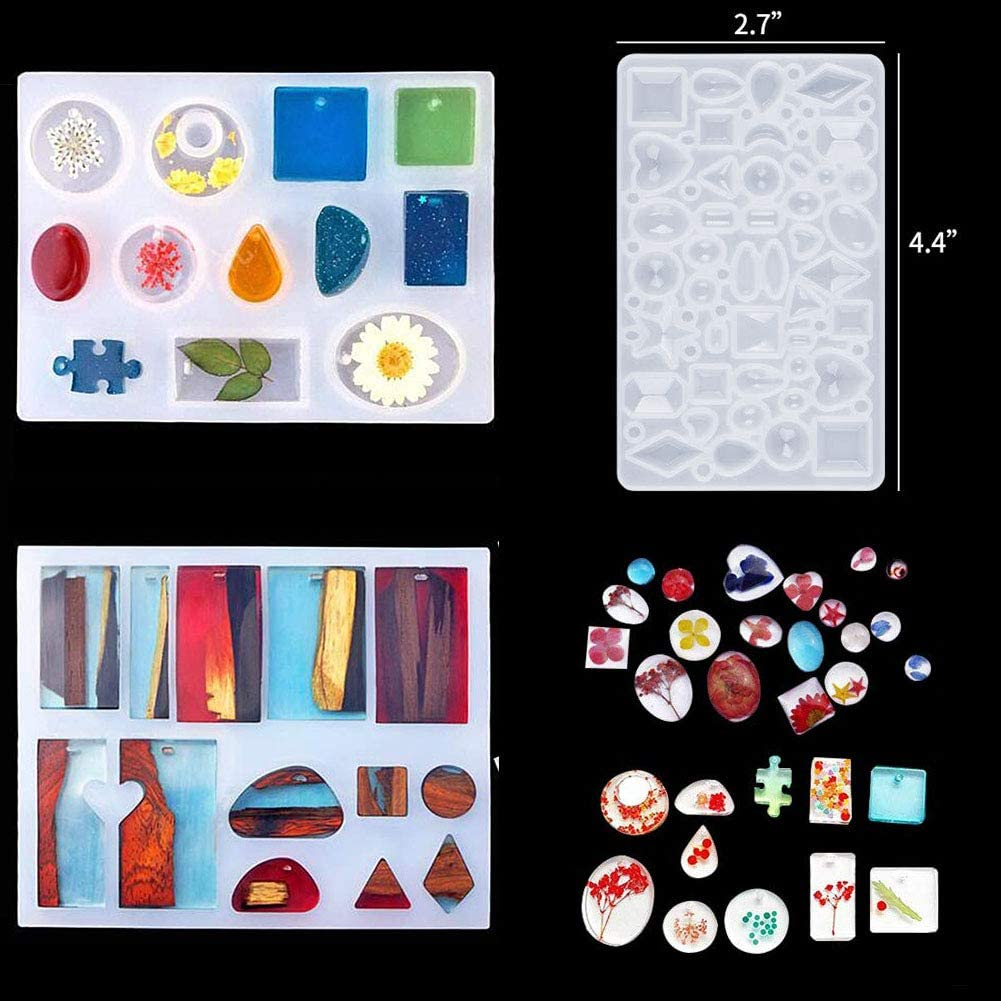 Kalolary 94 Pcs Silicone Casting Molds and Tools Set for DIY Jewelry Resin Craft Making