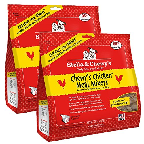 Stella & Chewy's Freeze-Dried Raw Chewy's Chicken Meal Mixers Dog Food Topper, 18 oz bag, 2 Pack by Stella & Chewy's