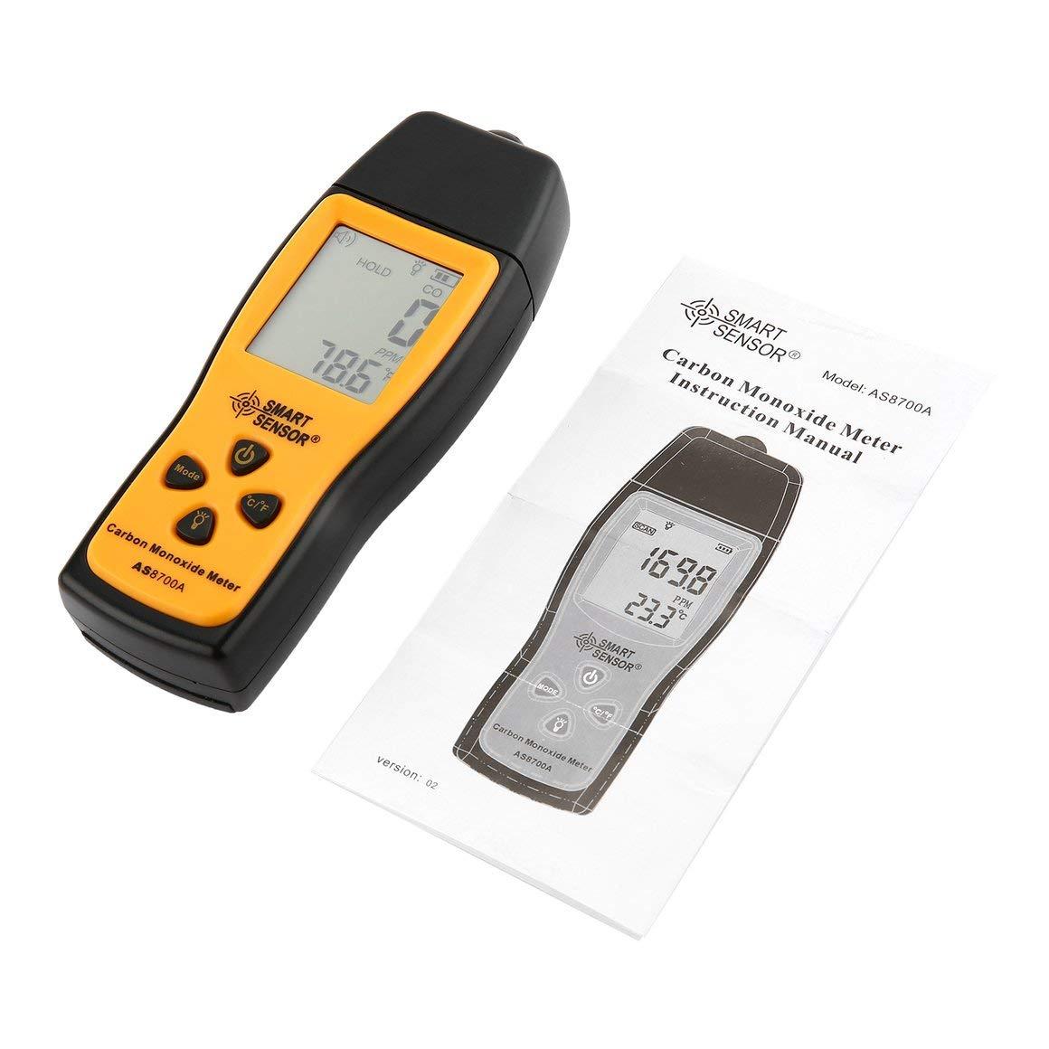 Moniteur de monoxyde de Carbone Portable Funnyrunstore Portable CO dé tecteur de Fuite de gaz Analyseur de gaz Dé tecteur de Moniteur de gaz de Haute pré cision testeur 1000ppm (Jaune)