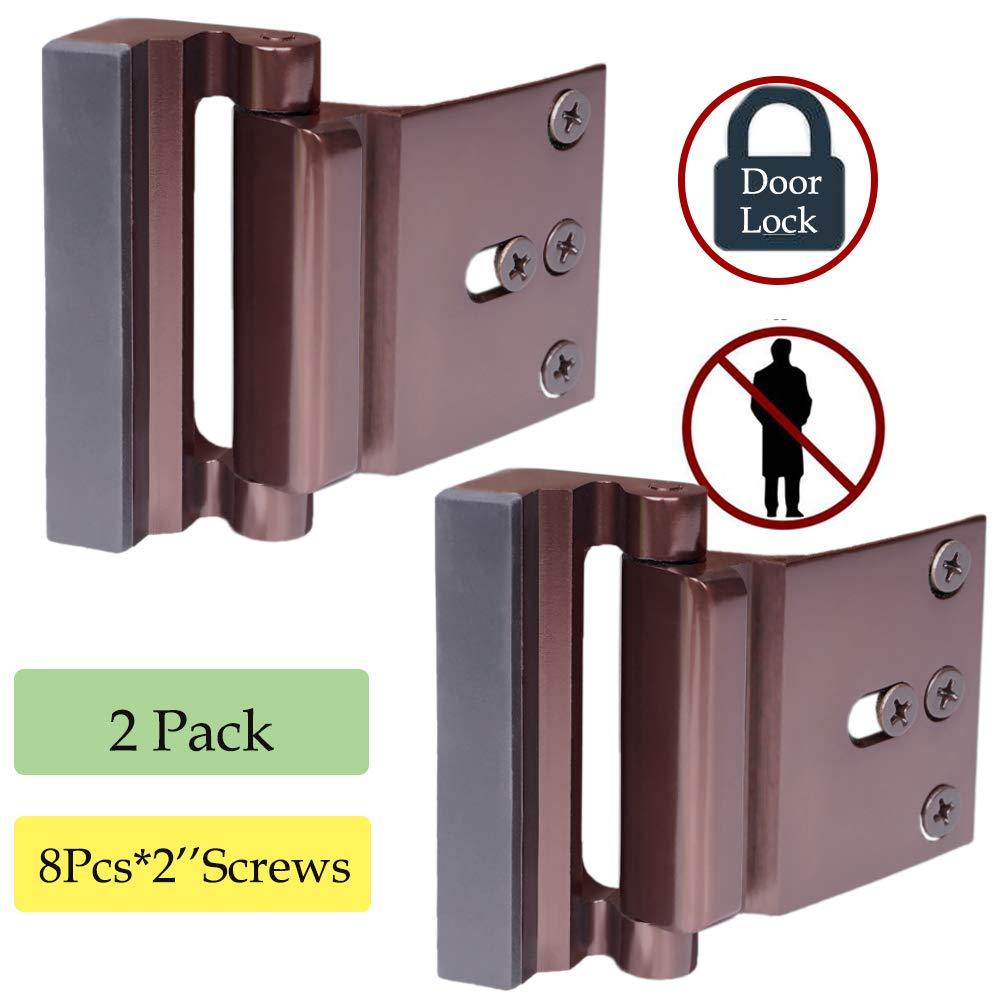 Reinforcement Lock,Child Proof Door Lock, Home Security Lock for Inward Swinging Door Withstand 800 lbs Door Latch Double Safety Security Protection for Your Home (2Pack Door Security Lock) by BAOWEIJD