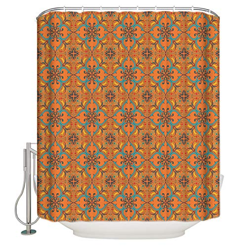 Cloud Dream Home Retro Mid Century Modern Florals Shower Curtain,Waterproof and Mildewproof Polyester Fabric Bath Curtain Design 72x72-Inch