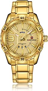 ساعة NaVIFORCE كاجوال للرجال كوارتز ساعة ذكور3aTM مقاومة للماء مضيئة ساعة المعصم التقويم عرض الوقت