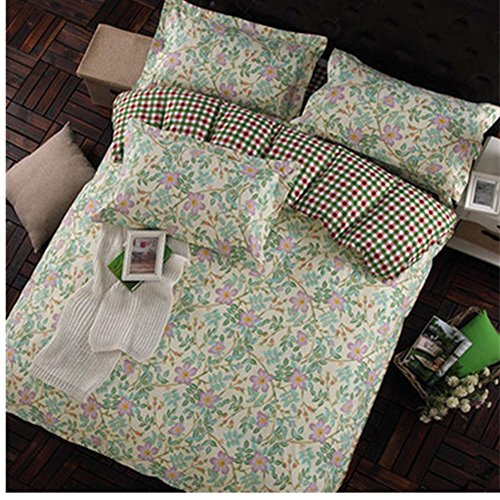 KAKA(TM) Stylish Simplicity Bedding Green leaf Pink Flowers Set 4pc, Quilt Cover and Pillowcase Sheets-5Foot