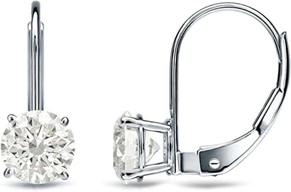 1.50 CT BRILLIANT ROUND CUT Simulated Diamond CZ Solitaire DROP DANGLE LEVERBACK EARRINGS 14K Yellow GOLD