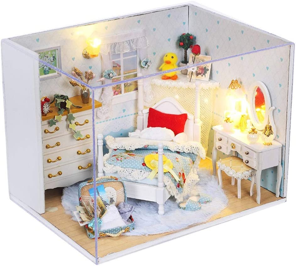 Fun Dolls, DIY Christmas House Assemble Miniature Dollhouse Led Furniture Kit Xmas Gift Cottage Princess Room Puzzle Handmade Toy Gift Doll House