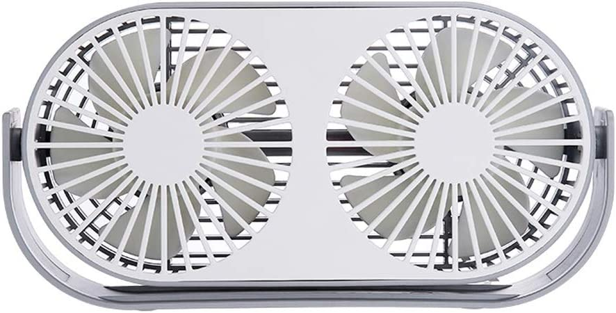 Color : Gray, Size : One Size Mini USB Table Desk Personal Fan 360 Degree Adjustable Angle Desktop Double-Headed Fan Home Desktop USB Metal Design Quiet Operation USB Cable Fan