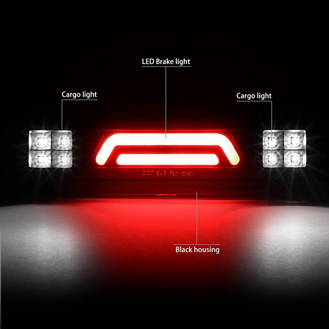 02-09 Dodge Ram Truck DNA Motoring 3BL-DRM02-3D-LED-BK-SM 3D LED Bar Third Brake//Cargo Light Black//Smoked