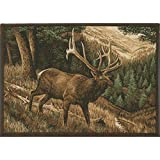 """""""Roaming High Country"""" (Elk) Wildlife Rug 36″x52″ – Associated Weavers 321, Novelties Area Rugs For Sale"""